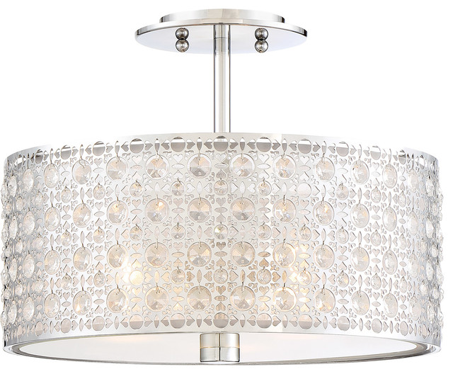 Quoizel Platinum Collection Verity Semi-Flush Mount, Polished Chrome.