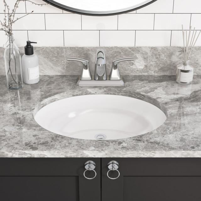 11 X14 7 Porcelain Oval Undermount Bathroom Vanity Sink White Contemporary Bathroom Sinks By Allora Usa Houzz