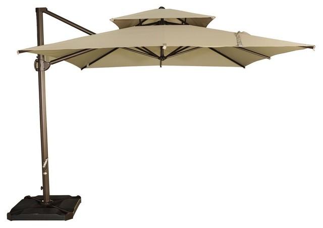 9u0027x9u0027 Offset Cantilever Patio Umbrella With Dual Wind Vent, Beige