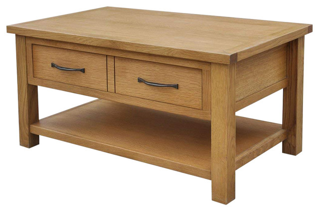 Rustic Coffee Table.Rustic Coffee Table Solid Oak Wood With 2 Drawer And Open Bottom Shelf