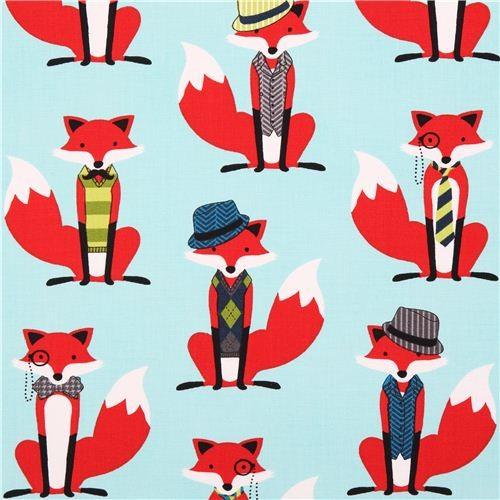 aqua hipster fox fabric Robert Kaufman Fox and Houndstooth