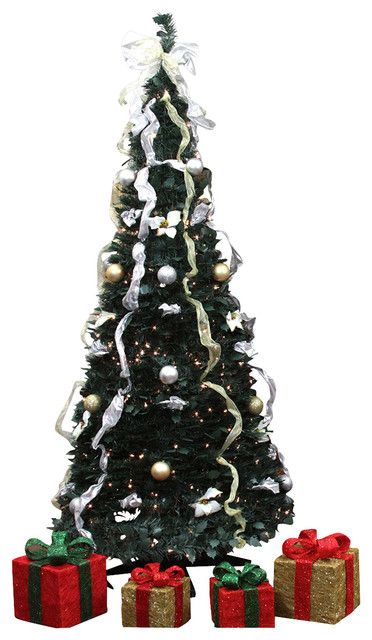 pre lit pop up decorated silvergold artificial christmas tree clear lights - Pop Up Decorated Christmas Tree