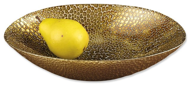 Nature Home Decor Oval Decorative Bowl With Antique Gold Leaf Snakeskin Pattern