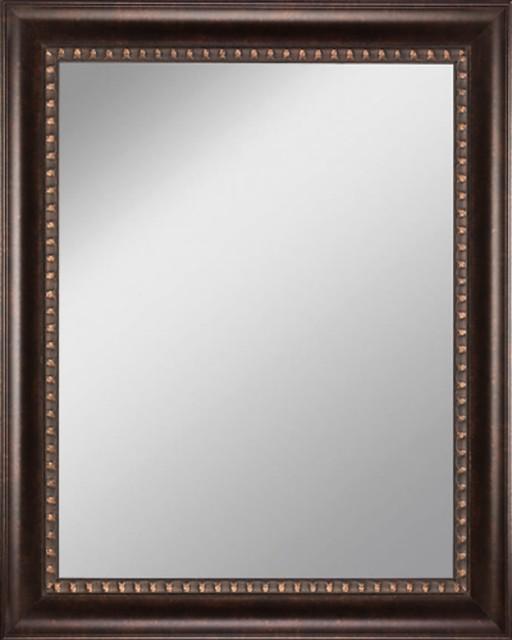 Framed Mirror 21 5 X25 5 With Dark Bronze Finish Scoop Frame