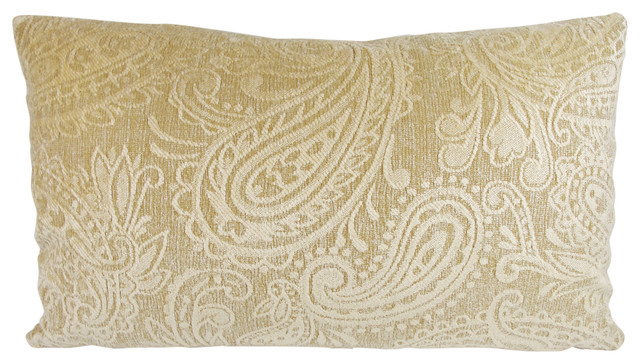 Tan Chenille Paisley Lumbar Throw Pillow With Feather Down Insert.