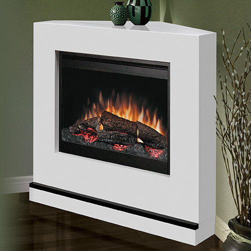 Milan white wall or corner electric fireplace bspc 26 for Indoor corner fireplace