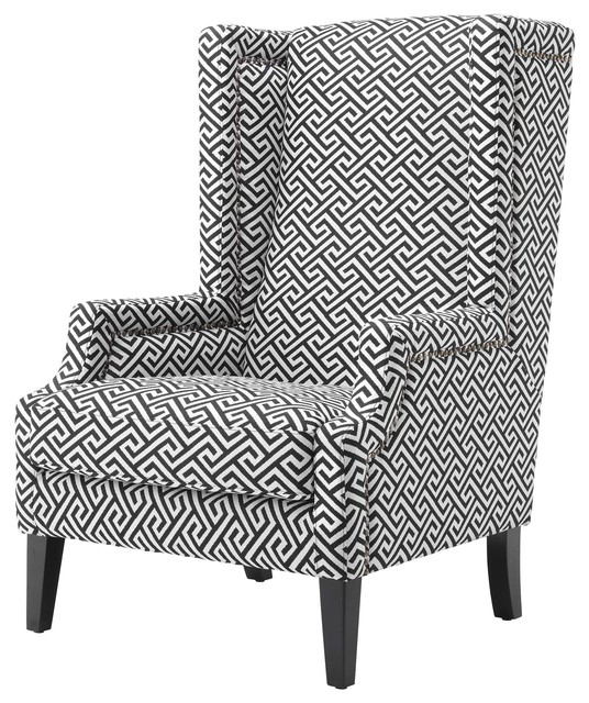 Eleventy Modern Black White Greek Key Patterned Accent Club Chair