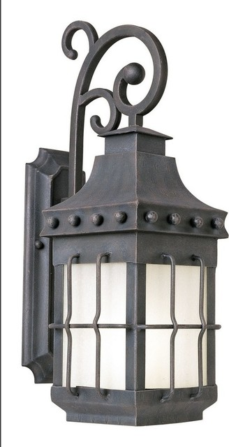 Nantucket 23 12w 1-Led Outdoor Wall Mount, Country Forge/frosted Seedy Glass.