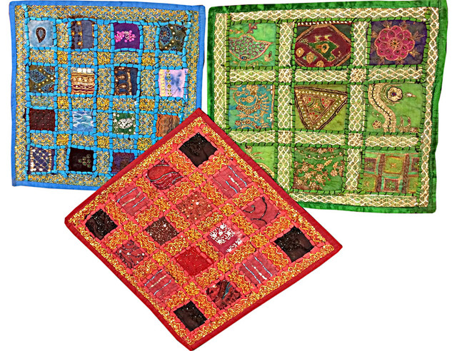 Indian Embroidered Cushion Cover Throw Embroidered Patchwork Pillows Covers.