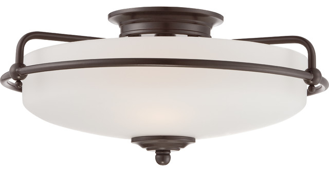 Washington Flush Ceiling Light, Palladian Bronze, Small.