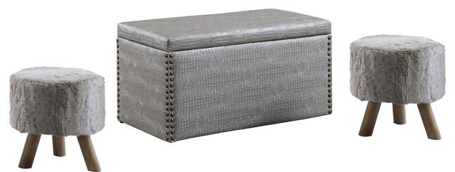 Crocodile 3-Piece Storage Ottoman And Fur Stool Set, Gray.
