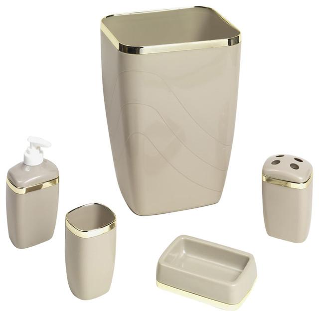Contemporary Bathroom Accessories Sets carnation home linen/gold 5 piece bath ensemble - contemporary