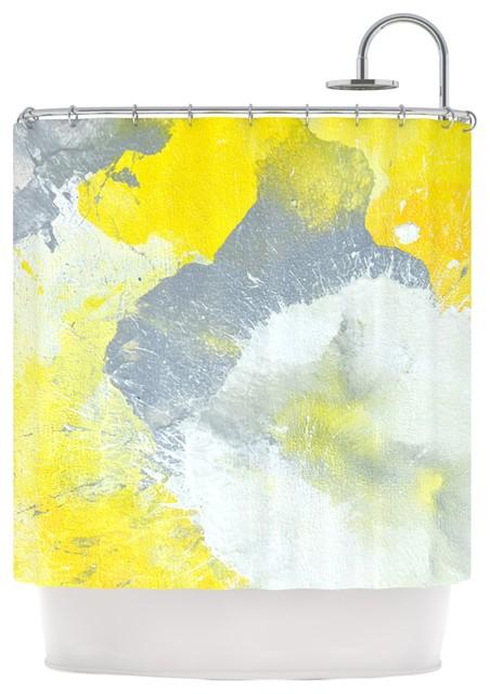 Carollynn Tice Make A Mess Yellow Gray Shower Curtain
