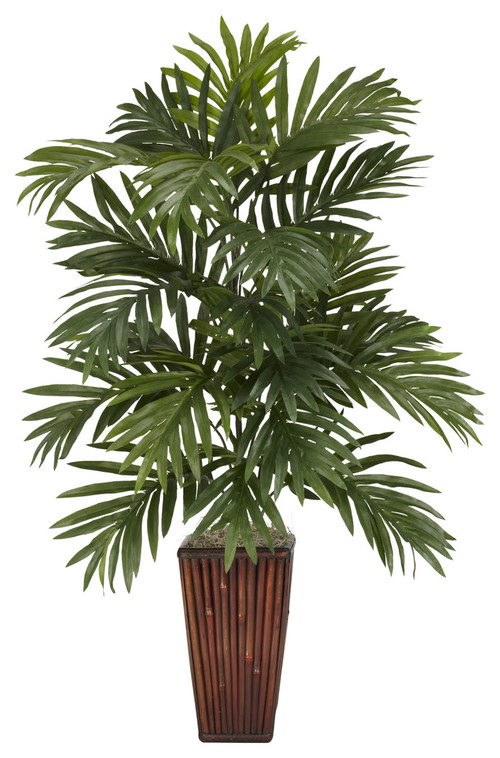 Nearly Natural Areca Palmwith Bamboo Vase Silk Plant Green