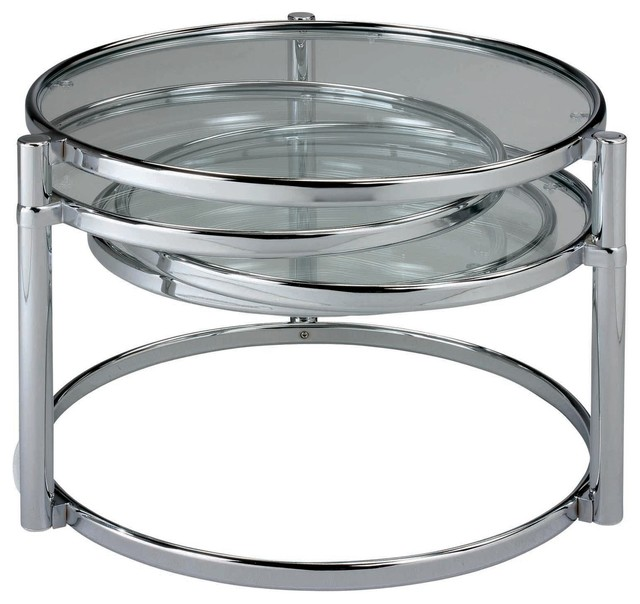 Kepler Coffee Table, Chrome With Tempered Glass
