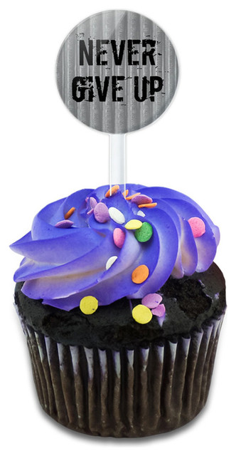 Never Give Up Cupcake Toppers Picks Set.