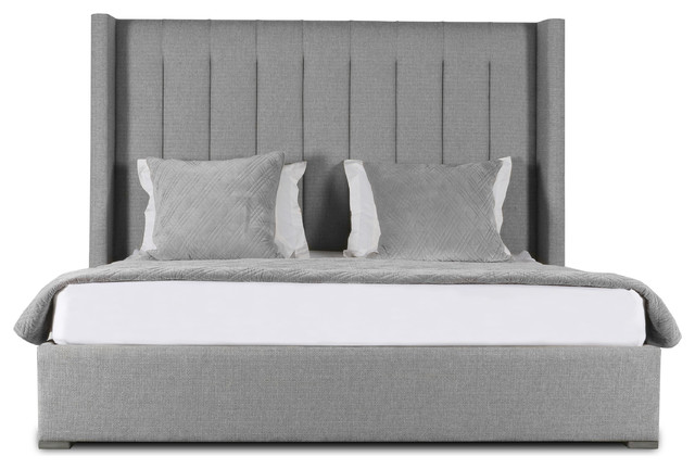 Stella Vertical Channel Tufting High Height King Size Bed, Gray.