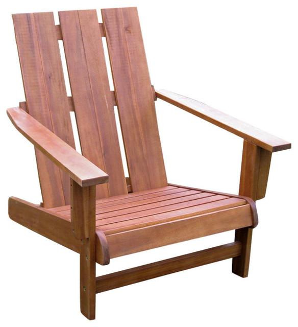 Royal Fiji Acacia Large Square Back Adirondack Chair - Rustic Brown