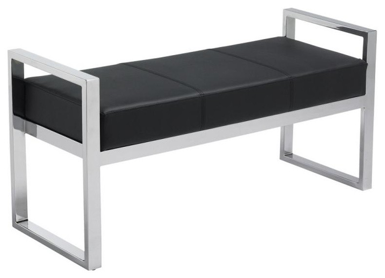 Excellent Chrome Frame Leather Bench Black Pabps2019 Chair Design Images Pabps2019Com