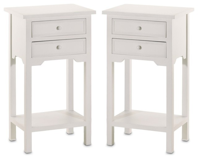 Stylish End Tables Nightstands With Two Drawers In, Set Of 2 White Wood.