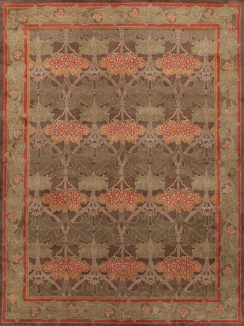 rugsville arts and crafts green rug 9x12