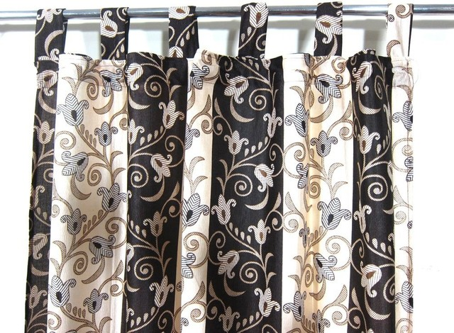 Patterned Curtains Luxurious Drapes Drapery Window Panels Pair Tab Top India, 48