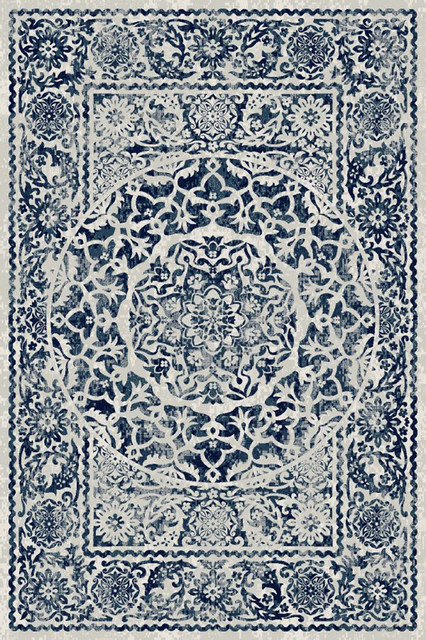 Traditional Ivory & Blue Rug (7ft. 10in. X 9ft. 10in.) Artifact Art02c.