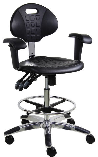 Work Bench Stool With Chrome Base And Fixed Arm Office Chairs By Benchpro