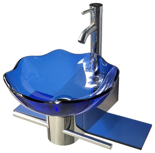 Small Wall Mount Glass Sink Blue Lotus Combo Package
