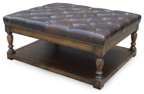 Button Tufted Leather Ottoman Modern Footstools And Ottomans