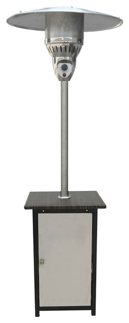 7&x27; 41,000 Btu Square Steel Patio Heater With Stainless Steel Finish.