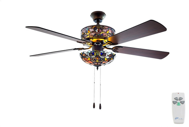 "52"" W Tiffany Style Stained Glass Magna Carta Ceiling Fan, Violet."