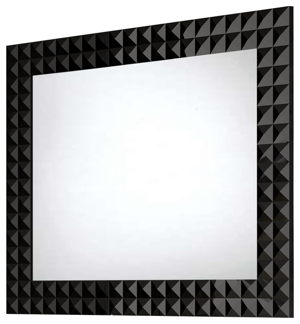 Diamond Wall Framed Mirror Black 32