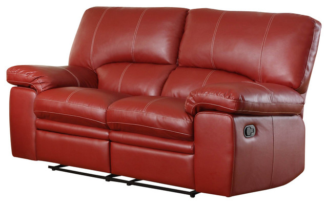 Homelegance Kendrick Reclining Loveseat In Red Leather Loveseats By Beyond Stores