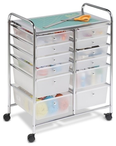 12-Drawer Organizer Cart, Chrome.