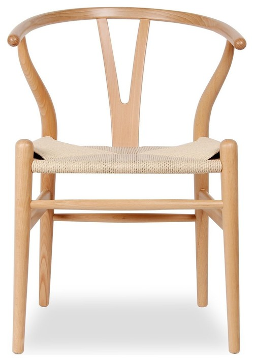 Wood Y Dining Chair, Seat: Natural, Base: Natural Beech - Come get ideas to Steal this Look: Laid Back Cali Slightly Boho Chic in HOME AGAIN With Reese Witherspoon.