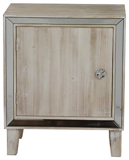 Bon Marche 1-Door Accent Cabinet With Mirror Accents, White Washed
