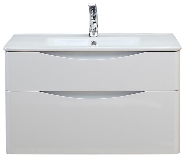 Happy Face Bathroom Vanity Unit With Drawers, White, 80 cm