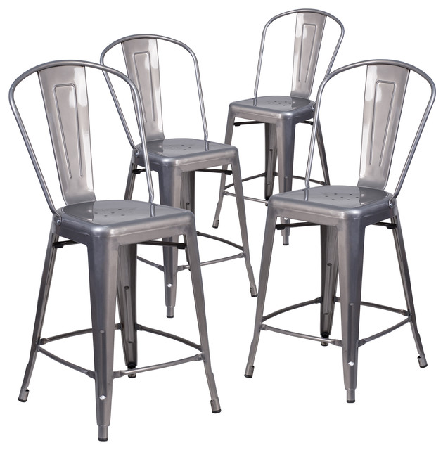4 Pack 24 High Indoor Counter Height Stools With Back Industrial