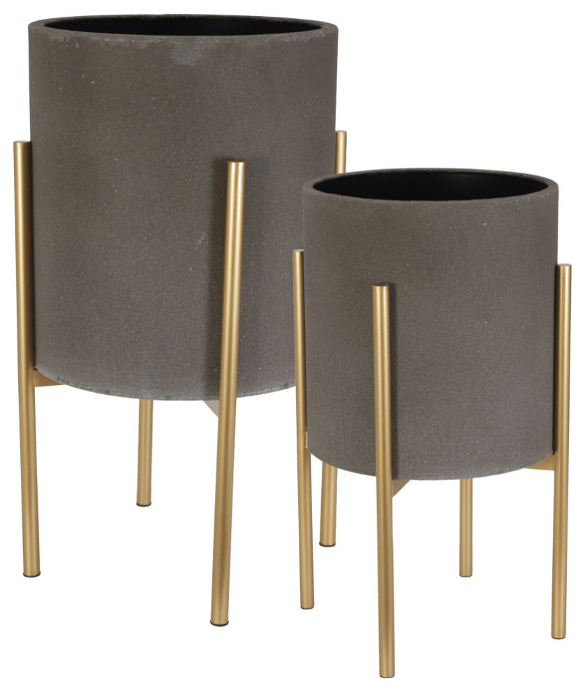 Set of 2 Golden Diamond Pattern Stamped Metal Planters With Metal Stands