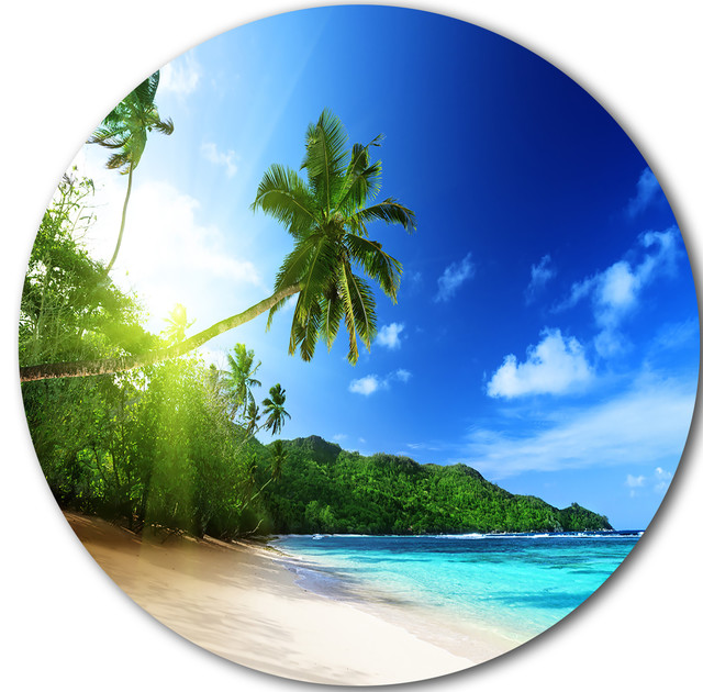 """Sunset Beach With Palm, Landscape Photography Round Wall Art, 11""""."""