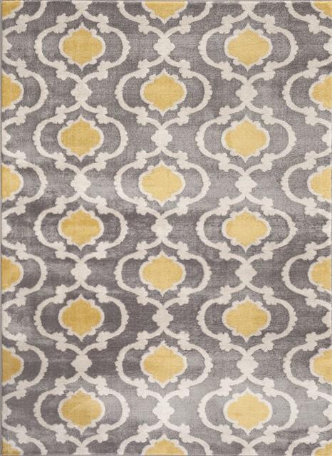 World Rug Gallery Moroccan Trellis Gray/Yellow 8u0027x10u0027Indoor Area Rug  Mediterranean