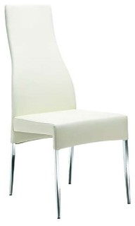 Valentino Collection Dining Chair by Casabianca Home, White Eco-Leather
