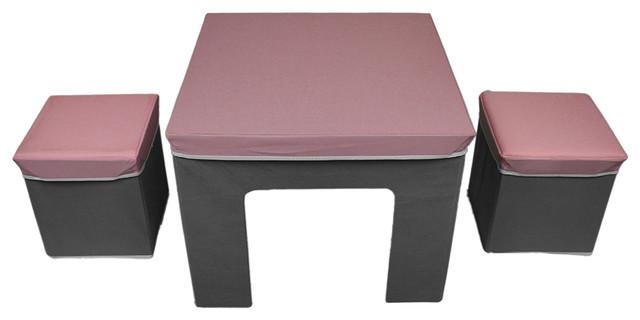 Astounding Cosco Pink Grey Folding Fabric Kids Activity Table Storage Ottoman Set Machost Co Dining Chair Design Ideas Machostcouk