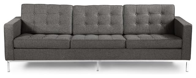 Midcentury Modern Floine 3 Seat Sofa Cadet Gray Tweed Material Wool