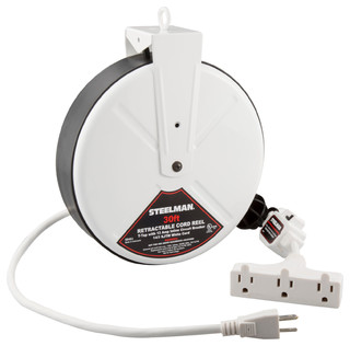 White 30-Foot Cord 15 Amp T-Tap Reel - Cable Management - by Steelman