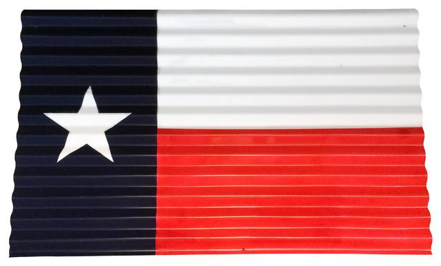 Corrugated Metal Texas Flag Wall Decor, Small Contemporary Metal Wall Art