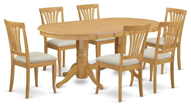 7-Piece Dining Room Set, Oval Table, Leaf and 6 Chairs With Cushion by East West Furniture