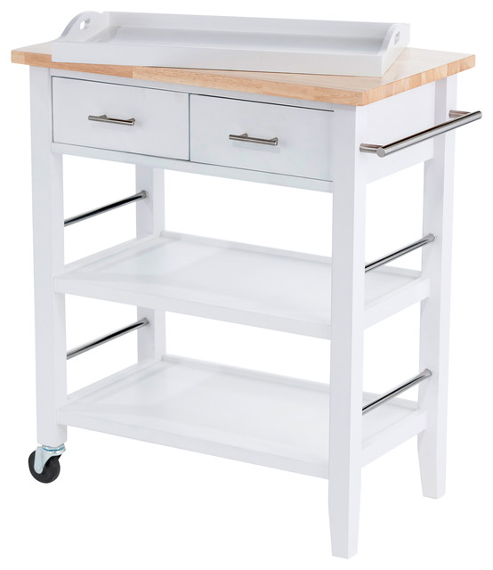 Trinity Wood Kitchen Cart With Drawers & Tray.