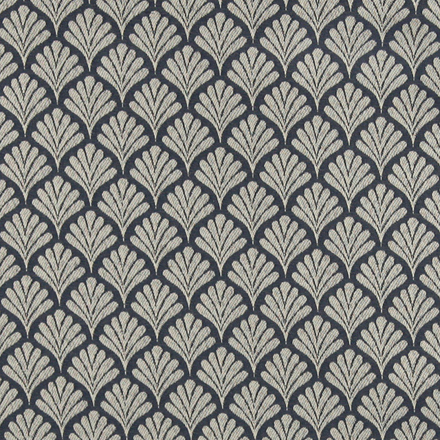 Navy Blue Fan Patterned Woven Upholstery Fabric By The Yard